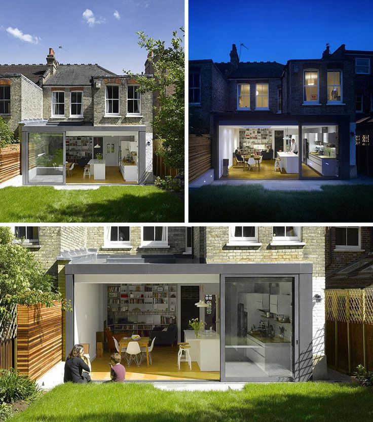 The modern extension on this London home created a modern kitchen and living space, and opens up right onto the grassy back yard.