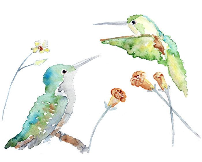 whimsical bird Art, humming bird painting, spring wall art, watercolor painting, turquoise, green bathroom wall decor, spring decor. $16.00, via Etsy.