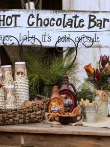 cozy up with hot chocolate during the ceremony outside