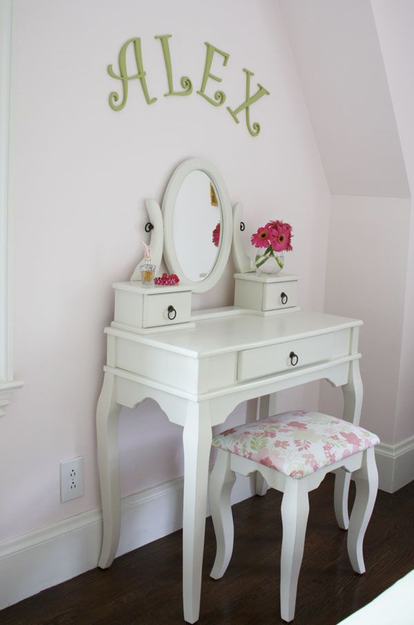 """Little girl's vanity.  Needs to say """"Alexa"""".  I used the same letters in her room too."""