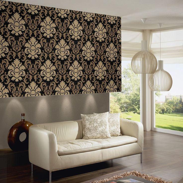 Black Gold Bedroom Carat Damask Glitter Wallpaper Gold
