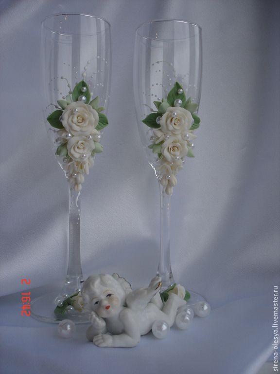Свадебные аксессуары ручной работы. Ярмарка Мастеров - ручная работа Свадебные бокалы. Handmade.