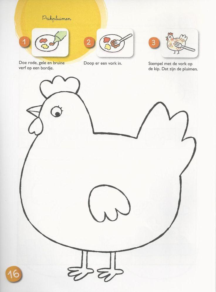 kleurplaat of knutselactiviteit kip school thema kip