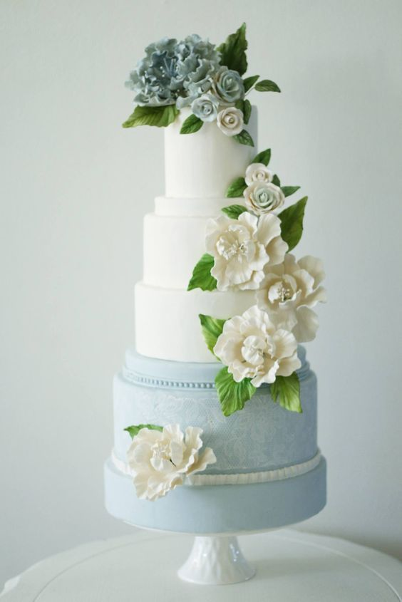 Featured Cake: The Cocoa Cakery; Baby blue and white flower wedding cake idea.