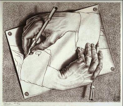 MC Escher, Drawing Hands 1948
