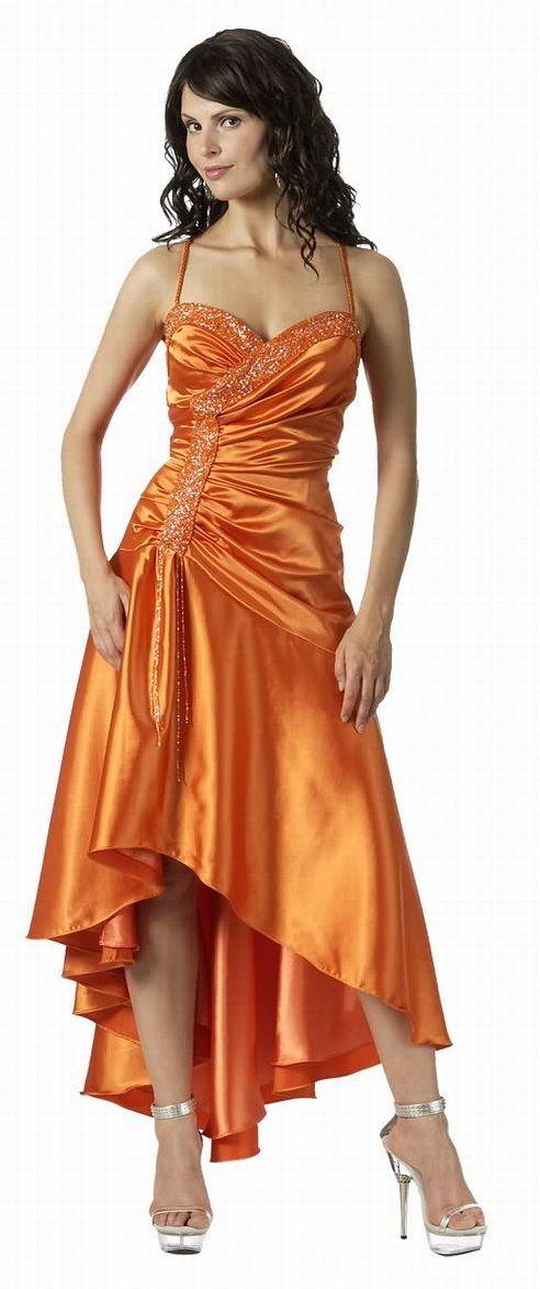 orange Wedding Bridesmaid Dresses | Orange Formal Dress Tea Length Orange Bridesmaid Prom Cocktail Gown