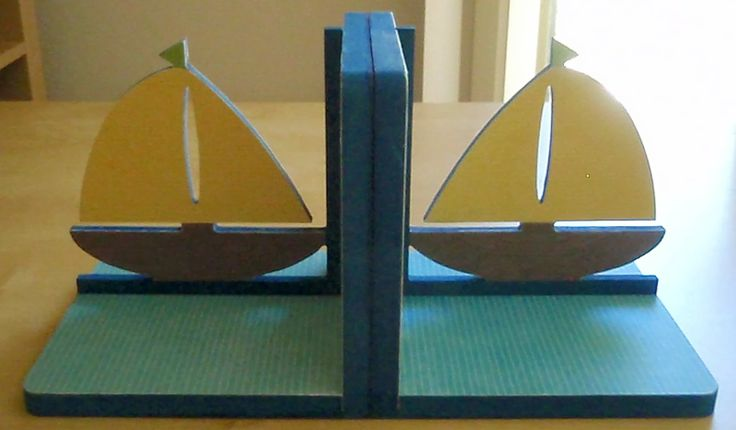Colourful boat book ends
