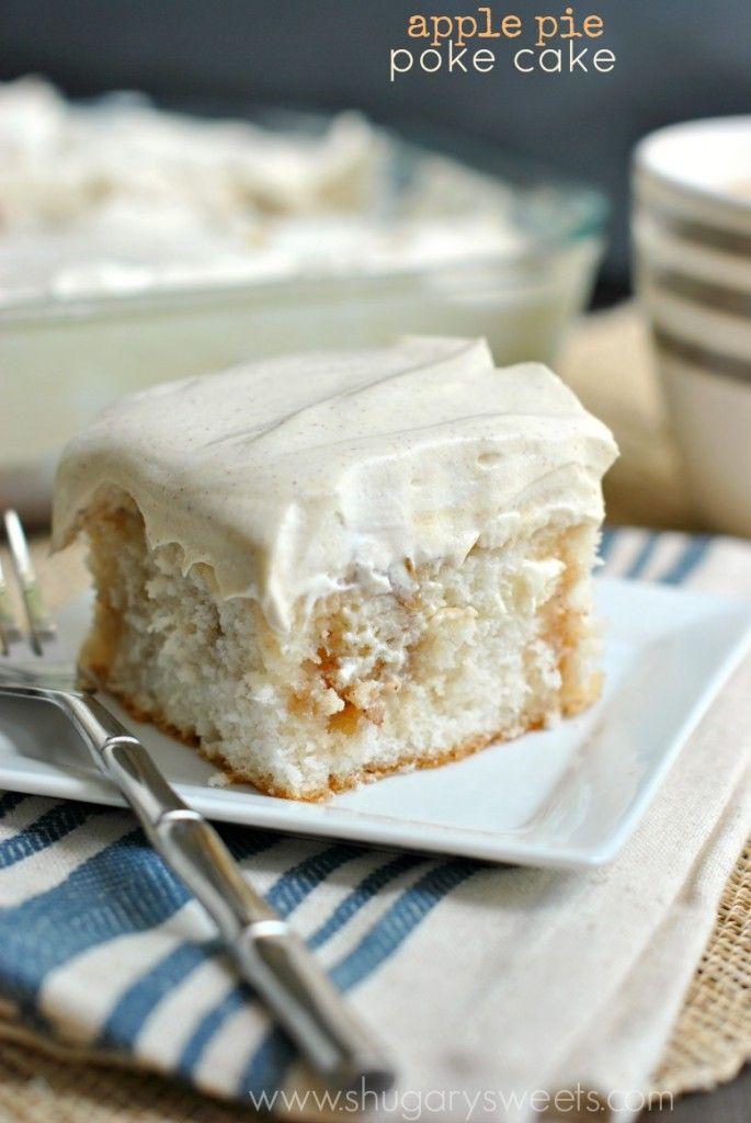 Apple Pie Poke Cake: all the delicious flavor of apple pie in a delicious, moist poke cake!