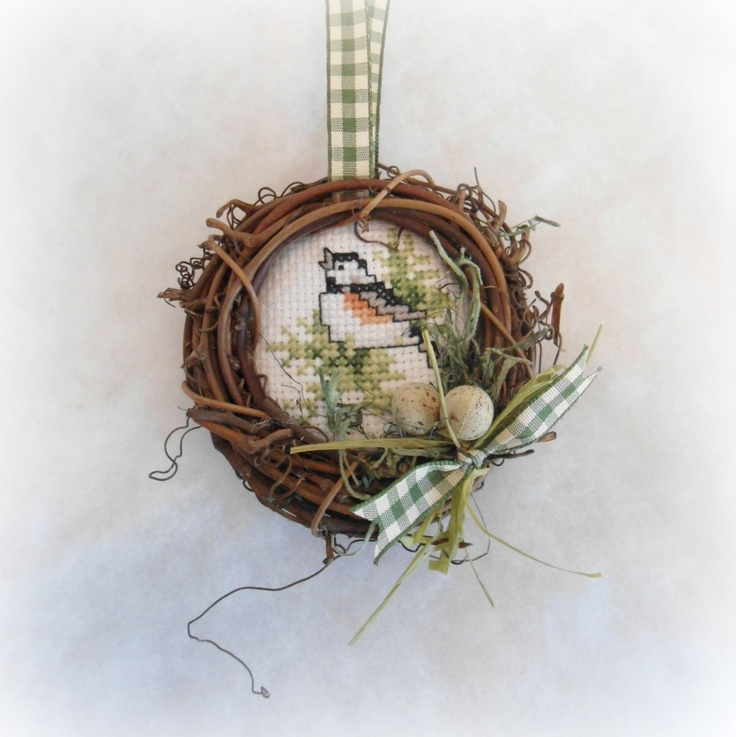 Grapevine wreath finished bird ornament