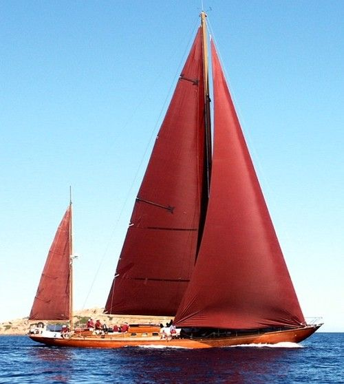 BEAUTIFUL!    The Agnelli yachts. No. 1 Agneta  A Swedish-made, 25 m-long Bermudan yawl, named after the daughter of its designer, Knud H. Reimers. The Agneta was launched in 1951 and refurbished in 1987 at the Cantieri Carlini, Rimini (Italy).