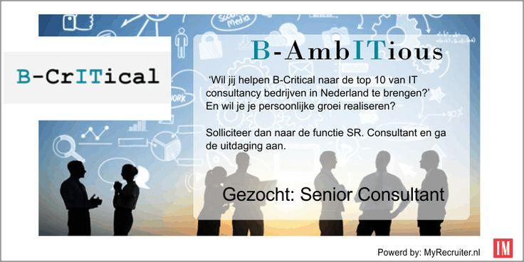 B-Critical zoekt Senior Consultants Microsoft  Citrix #ictvacature Zie: https://www.myrecruiter.nl/viewVacancy.jsf?vid=664593
