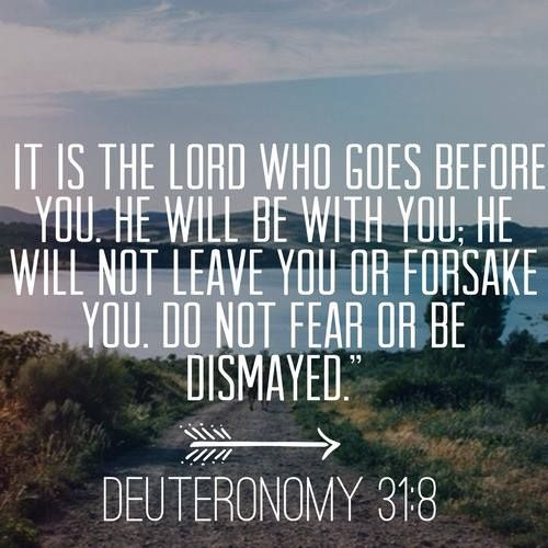 It is the Lord who goes before you. He will be with you. He will not leave you or forsake you. Do not fear or be dismayed. Deuteronomy 3:18.