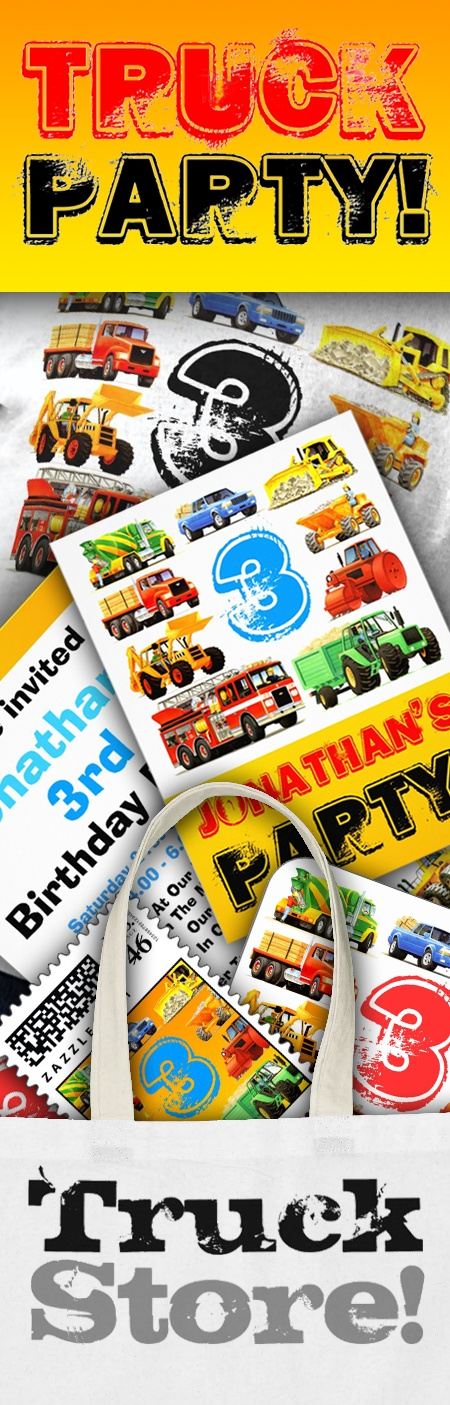 Have a Big Truck Birthday Party! Truck Themed Kid's Birthday Parties are really popular and these easily customisable Add Your Age truck themed birthday invitations, t shirts, stickers, cards and party bags are ideal for getting that Big Trucks Look! Easily add all the details of your Truck Themed Party with Zazzle's easy to use customisation tools. Great Truck Birthday ideas and supplies. #truckstore #trucks