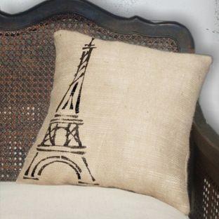 Eiffel Tower, Paris - Burlap Feed Sack Pillow by Next Door to Heaven