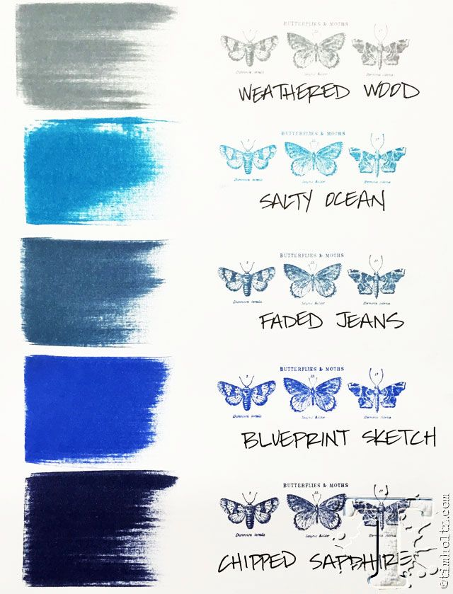 Tim Holtz color chart: Weathered Wood, Salty Ocean, Faded Jeans, Blueprint Sketch, Chipped Sapphire