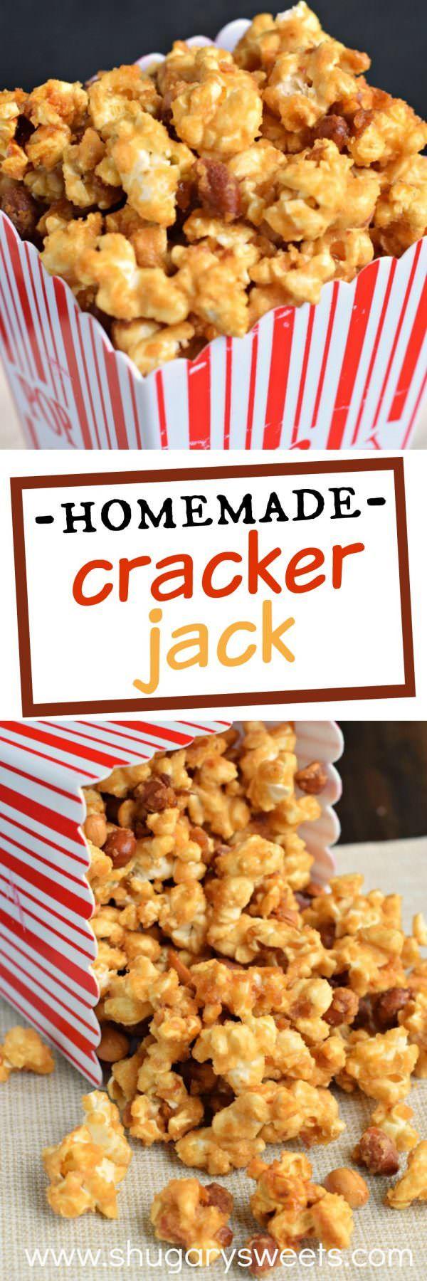 Haciendo hecho en casa Cracker Jack palomitas de maíz es muy fácil y delicioso!  Dulce y crujiente, este maíz de caramelo adictivo es mejor que el original!