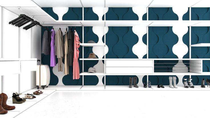 Garderoba. Szafa. Przymierzalnia. Przebieralnia. Kolekcja Fluffo DIVE. design, architektura wnętrz, interior design, panele ścienne, panele 3d, panele ścienne 3d, ściana 3d, dekoracje ścienne, ozdoby ścienne, pomysł na ścianę, aranżacja ściany, miękkie panele ścienne 3d, Fluffo, Fabryka Miękkich Ścian