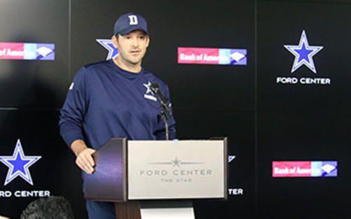 VIDEO: Tony Romo Reads Statement Regarding QB Role  Tony Romo reads a statement to the media regarding his current status with the Cowboys.. #TonyRomo http://rock.ly/kelnw
