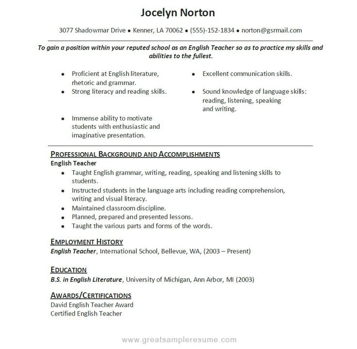 「english Resume Sample」的圖片搜尋結果