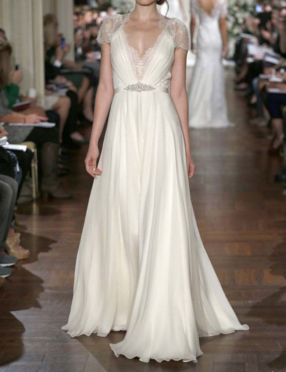 Cap Sleeves Lace Chiffon Wedding Dress Vneck See von harsuccthing, $179.00