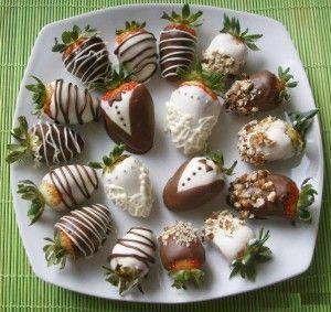 Fresas con chocolate, para bodas (receta)