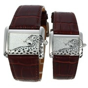 Cartier Tank Silver Case White Dial with Leopard Illustration-Couple Watch