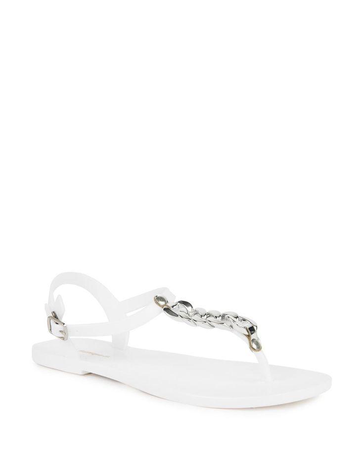 Chain Trim Jelly Sandals