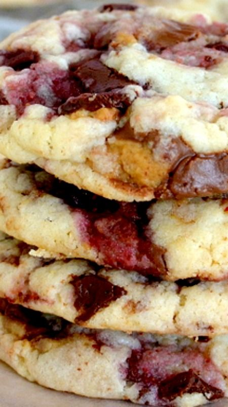 Peanut Butter & Jelly Cookies ~ Cake mix cookies made with peanut butter cups and raspberry chocolate bar for a fun take on peanut butter and jelly