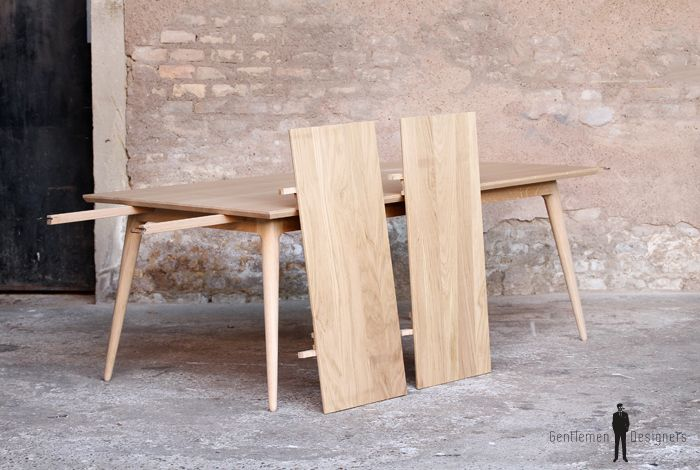 TABLE RALLONGES CHENE MASSIF - Made in France, sur-mesure  - pieds compas clair GENTLEMEN DESIGNERS