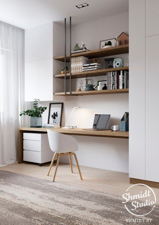 white and wood desk – really like this sans the pipes – Ece Akbey