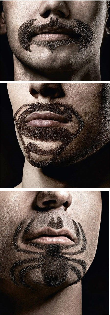 Superhero beards and mustaches.  (Is it just me, or would most people be weirded out if they met someone with these designs on their face?!?!)