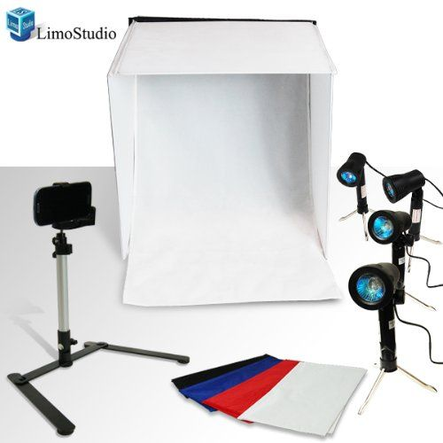 "Definitely need one of these so I can take better product pics for Saguine Moon! LimoStudio Table Top Photography Studio Lighting Light Tent Kit in a Box - 1x 24"" Photo Tent, 4x Light Kits"