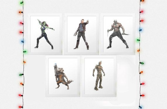 GUARDIANS GALAXY SET, Guardians Of The Galaxy Prints, Gamora, Star Lord, Rocket Raccoon, Groot, Drax The Destroyer, Marvel, Digital Prints