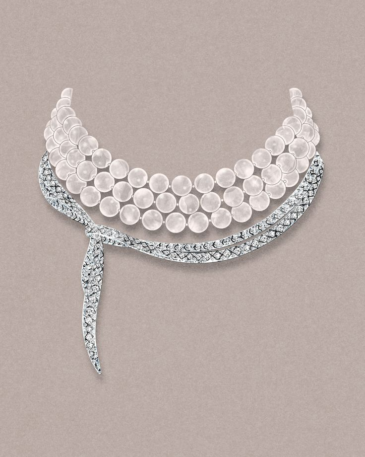 Designed to drape like ribbons, this sketch of the Tiffany Masterpieces pearl and diamond necklace set in platinum is inspired by the elegance and grace of Audrey Hepburn in 'Breakfast At Tiffany's'. See more: http://www.thejewelleryeditor.com/jewellery/tiffany-masterpieces-high-jewellery-at-its-most-wearable/ #jewelry #art