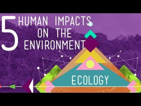 5 HUMAN IMPACTS ON THE ENVIRONMENT - CRASH COURSE VIDEO: Hank gives the run down on the top five ways humans are negatively impacting the environment and having detrimental effects on the valuable ecosystem services which a healthy biosphere provides. 10:38 minutes