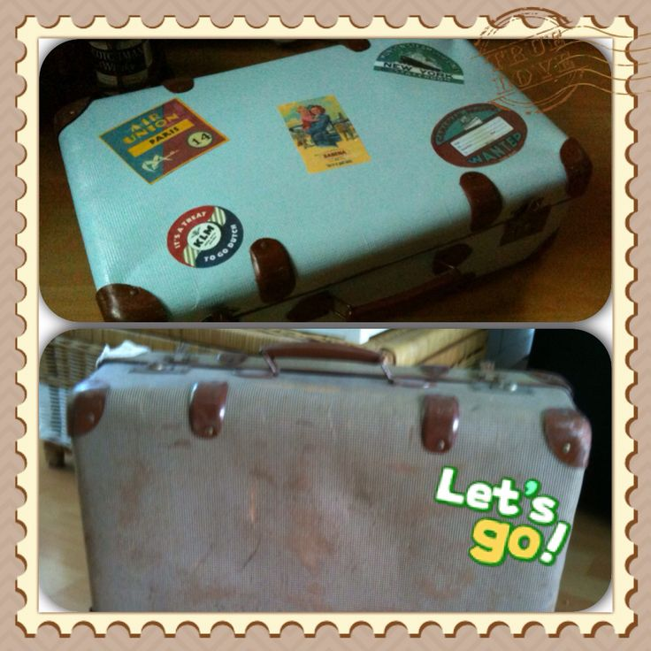 Painted vintage suitcase