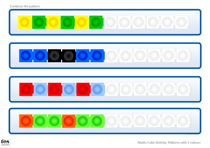 Continue the Pattern - 2 colours: Includes templates for both Unifix and Multilink style cubes. Blank templates are included so learners can create their own patterns