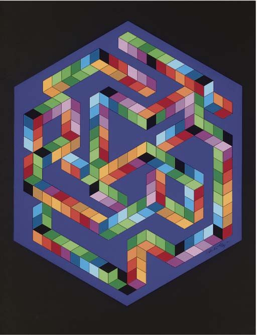 Babel-3, Oil by Victor Vasarely (1906-1997, Hungary)