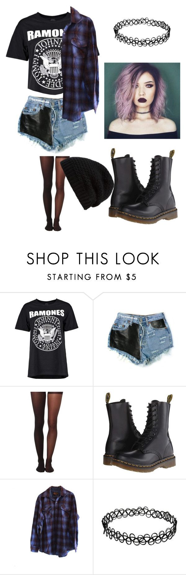 """90s grunge inspired"" by new-broken-scene-637 ❤ liked on Polyvore featuring Boohoo, Levi's, Wolford, Dr. Martens and Rick Owens"