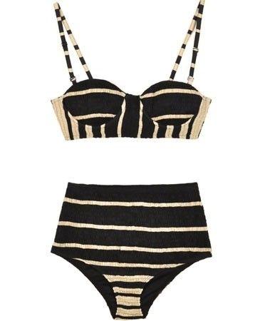 Shakuhachi black and white bustier bikini