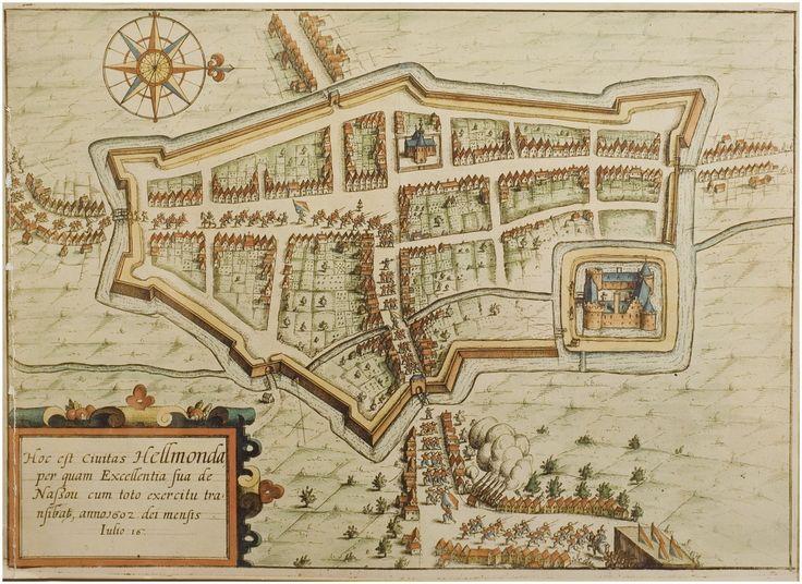 """Helmond. Plattegrond. Uit """"Beschrijvinghe van alle de Nederlanden door M. Lowijs Guicciardijn A.D. 1612"""""""