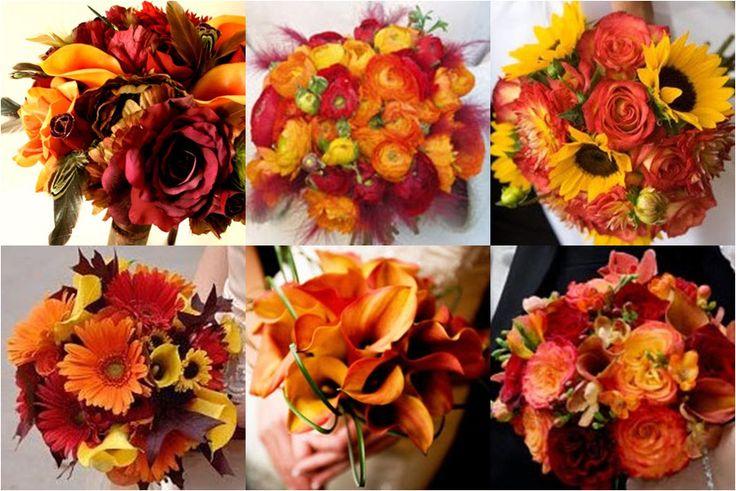 Wedding Flowers: full wedding bouquet red orange flowers