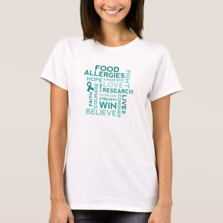 Food Allergies Teal Ribbon T-Shirt - tap to personalize and get yours
