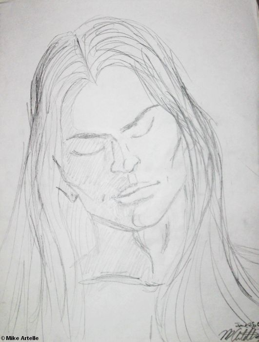 A beautiful guy with long hair, rough drawing, 2001. I drew this when I was 27 as an expression about how I feel about guys with long hair. By Mikey Artelle