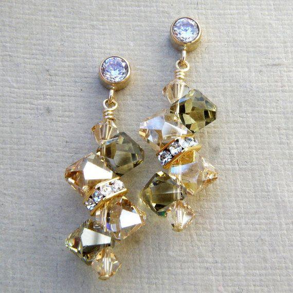 Orecchini di cristallo Peridot Champagne giallo oro di fineheart
