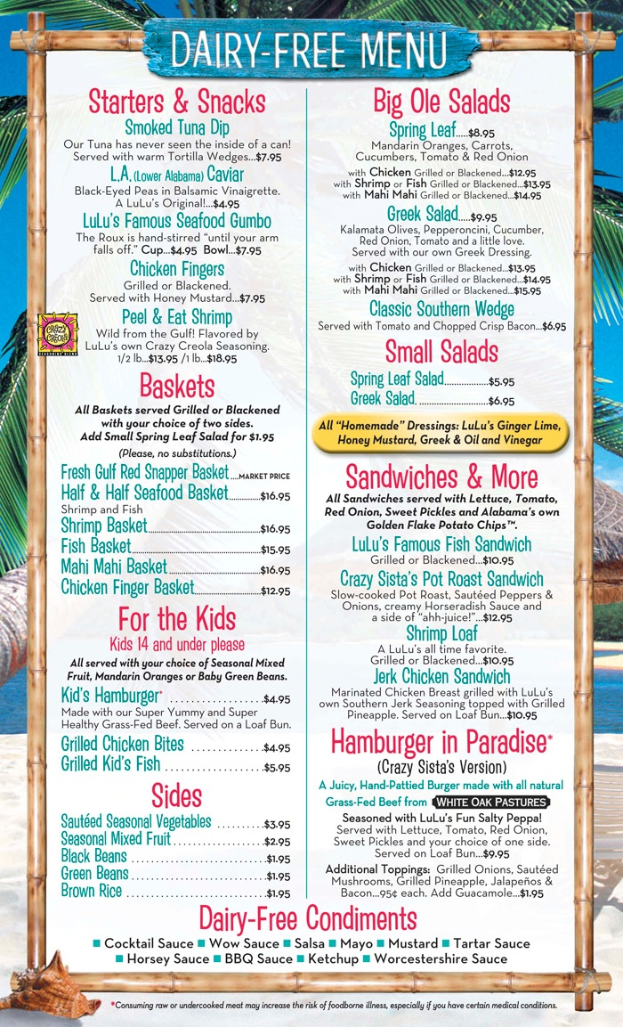 Dairy Free Menu Lulu S Gulf Shores Allergy Menu