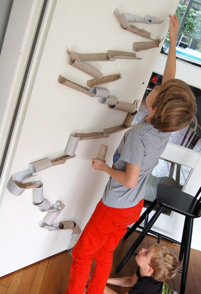 Karen the Hermit: Marble track made of toilet paper rolls and tape, too cute!