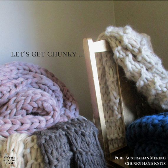 ON SALE ~~~ Chunky Knit Blanket ~~~ custom order your Australian Merino hand knit wool blanket or hand knitted throw. Made in Melbourne.