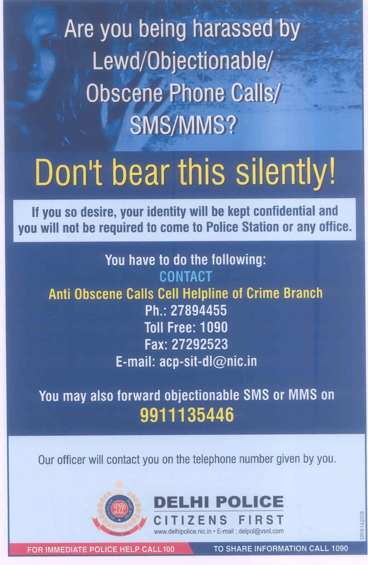 #Delhi Police Helpline Details to Report Lewd/Objectionable/Obscene Phone Calls/MMS/SMS