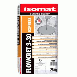 FLOWCRET 3-30 EXPRESS: Fast-setting, self-leveling compound by ISOMAT. Fast- setting, self-leveling, polymer-modified compound, used for the smoothing and leveling of surfaces. It can be applied at a thickness of 3-30mm. Ideal before installing floor coverings such as tiles, carpet, plastic or wooden floor, marbles, natural stones etc. Suitable also for floors with underfloor heating.